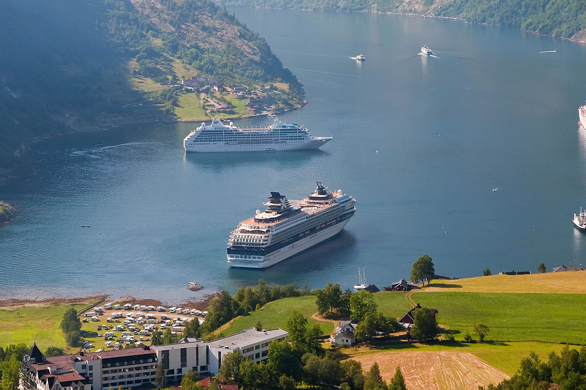 Cruise ships in fjord