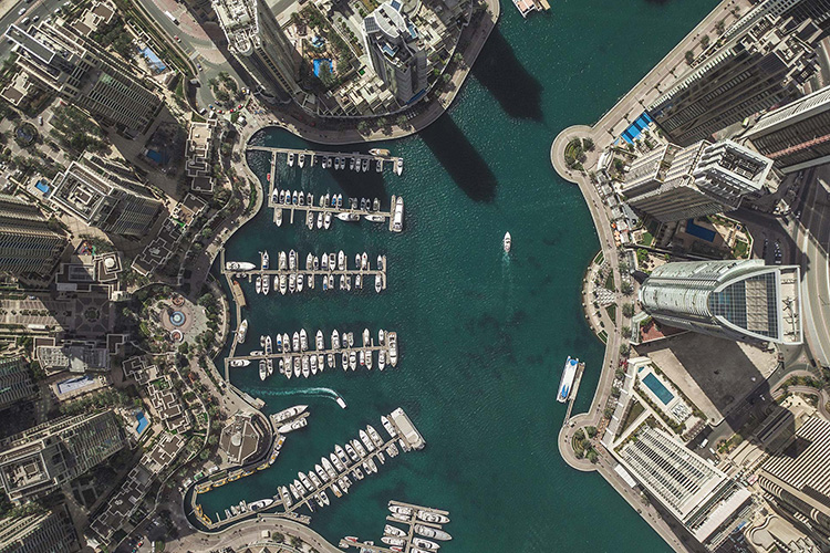 Drone photo of harbour in Dubai